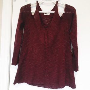 Dreamers Maroon Cold Shoulder Sweater